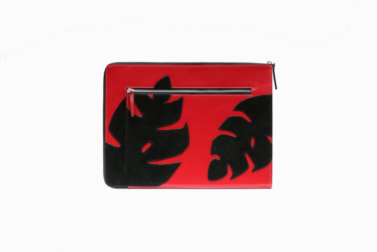 MONSTERA PATCHED CLUTCH RED