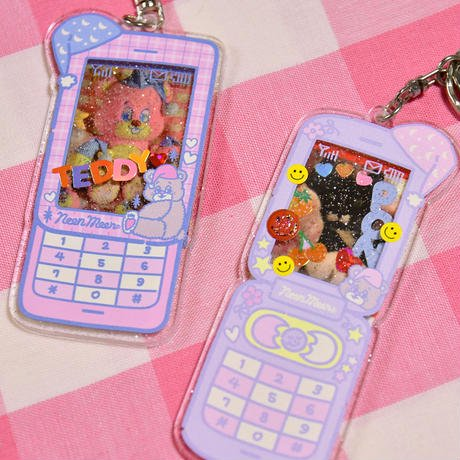 <img class='new_mark_img1' src='https://img.shop-pro.jp/img/new/icons9.gif' style='border:none;display:inline;margin:0px;padding:0px;width:auto;' />[Sleepy World] Teddy's New Phone!キーホルダー |NEONMOON(ネオンムーン)
