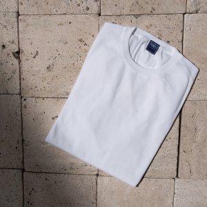 giza cotton crew neck knit WHITE