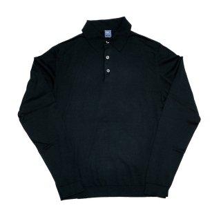 giza cotton knit polo BLACK
