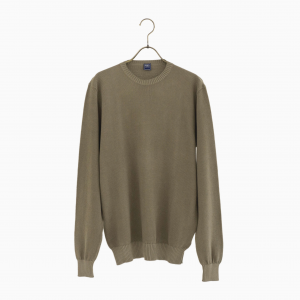 cotton crew neck knit BROWN