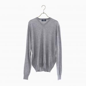 lana140 wool v neck knit GREY