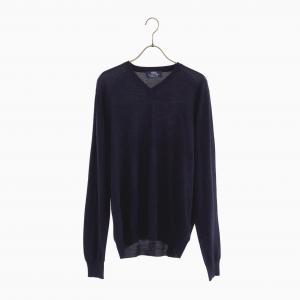 lana140 wool v neck knit NAVY