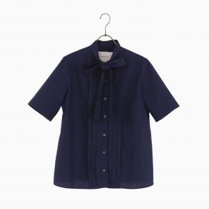 BAGUTTA half sleeve bowtie shirt navy