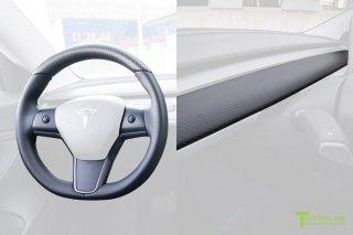 Tesla Model 3 Matte Carbon Fiber Interior Trim Kit (Steering Wheel + Dash Panel)
