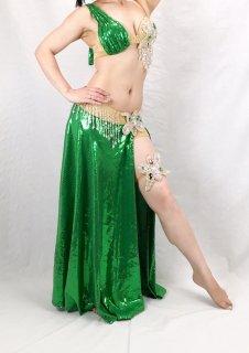 【ベリーダンス衣装】オリエンタル衣装 Sagaat(サガート)【グリーン】