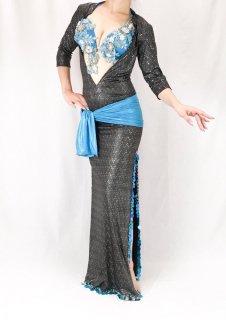 【ベリーダンス衣装】サイーディ/バラディドレス Raqia Hassan(ラキアハッサン)【ブラック×ライトブルー】