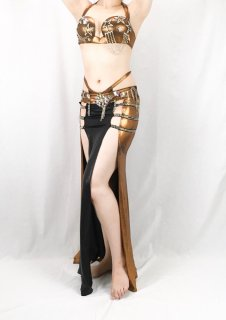 【ベリーダンス衣装】オリエンタル衣装 エジプト製【ブラウンゴールド】