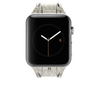 【キラキラのラメを封入した鮮やかなデザイン】Apple Watch 6,SE,5,4,3,2,1(38mm/40mm) 用バンド - Sheer Glam - Champagne