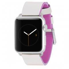 【Apple Watch 用交換バンド】 アップル ウォッチ 38mm / 40mm 用 本革バンド Edged Leather Ivory/Shocking Pink