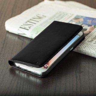 【カードや紙幣が収納できるレザーケース】 GALAXY S6 SC-05G Wallet Folio Case Black ウォレット フォリオ ケース ブラック