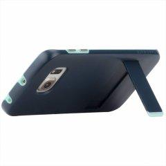 【落下等の衝撃に強いスタンド付きケース】 GALAXY S6 edge SC-04G/SCV31 Hybrid Tough Stand Case Slate Blue/Mint