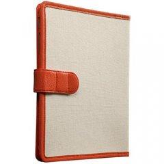 【キャンバス張りのブックスタイルケース】 iPad 2〜4 Trimmed Canvas Tangerine Tango/White