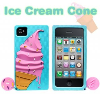 【かわいいアイスクリームのケース】 iPhone 4S/4 Creatures: Ice Cream Cone Turquoise