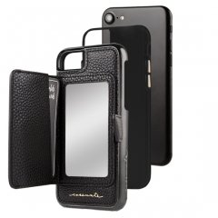 【iPhone8 コンパクトミラー付き 手鏡いらずのiPhoneケース】iPhone8/7/6s/6 Compact Mirror Case−Black