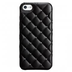 【キルトパターンの高級感】iPhone SE/ 5s / 5 Madison Quilted Case with Genuine SWAROVSKI Crystal Elements Black