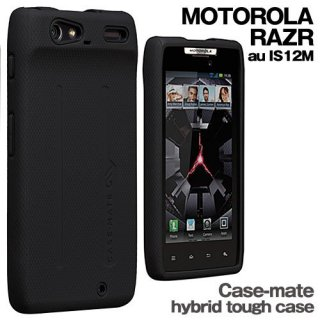 【衝撃に強いケース】 MOTOROLA RAZR au IS12M Hybrid Tough Case Black/Black