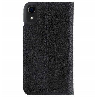 【エンボスレザー調のシンプルな手帳型ケース】iPhoneXR Barely There Folio-Black