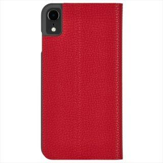 【エンボスレザー調のシンプルな手帳型ケース】iPhoneXR Barely There Folio-Cardinal