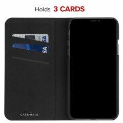 【エンボスレザー調のシンプルな手帳型ケース】iPhoneXS Max Barely There Folio-Black
