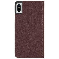 【エンボスレザー調のシンプルな手帳型ケース】iPhoneXS Max Barely There Folio-Brown