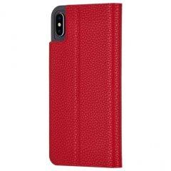 【エンボスレザー調のシンプルな手帳型ケース】iPhoneXS Max Barely There Folio-Cardinal