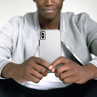 【シンプルな二重構造ケース】iPhone XS Max  Tough Grip - Silver/Black