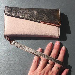 【iPhoneXS/X用 本革仕様 ハンドバックのような使いやすさ】iPhoneXS/X Wristlets Folio−Rose Gold