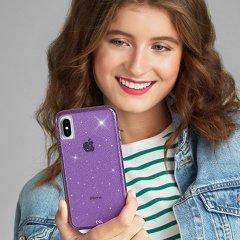 【クリスタルのきらめきが美しい】iPhoneXS/X Sheer Crystal-Purple
