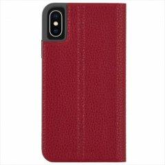 【エンボスレザー調のシンプルな手帳型ケース】iPhoneXS/X Barely There Folio-Cardinal