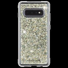Galaxy S10 ハード ケース カバー [耐衝撃・ワイヤレス充電対応・ハイブリッド・スリム構造] 透明 トゥインクル スターダスト