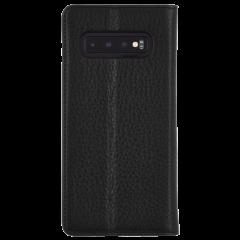 手帳型 Galaxy S10 二つ折 カバー IC カード 収納 [耐衝撃・画面保護]本革 レザー ウォレット フォリオ ブラック
