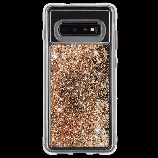 6d661095cd Galaxy S10+ ハード スマホケース カバー [耐衝撃・ワイヤレス充電対応・ハイブリッド・スリム構造] 流れる キラキラ ウォーターフォール  ゴールド
