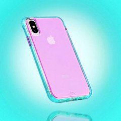 【大胆なネオンカラーがインパクト大!】iPhone iPhoneXS Max  Tough Clear - Neon Turquoise / Purple