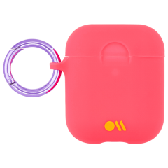 【AirPods全機種対応・ワイレス充電もOK・ネックストラップ付】  AirPods Case Hook Ups Silicone Coral Pink