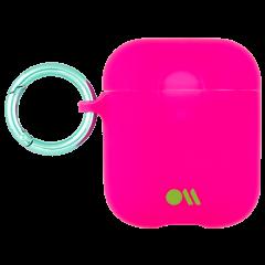 【AirPods全機種対応・ワイレス充電もOK・ネックストラップ付】  AirPods Case Hook Ups Silicone Dark Pink