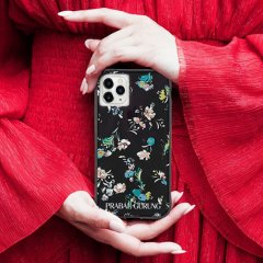 【世界のセレブが認めるデザイナー作品】PRABAL GURUNG iPhone 11 / 11 Pro / 11 Pro Max Case Tough Black Floral - Smoke