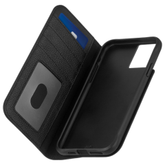 【au限定 選びぬかれた高級感 牛本革使用】 GENUINE LEATHER WALLET FOLIO TOUGH BLACK for iPhone 11 / iPhone 11 Pro