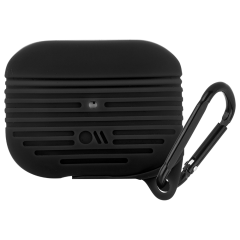 【AirPods Pro ケース・ワイヤレス充電OK・耐水】 AirPods Pro Tough Case Black w/Black Carabiner Clip