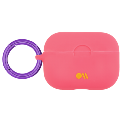 【AirPods Pro ケース・ワイヤレス充電OK】 AirPods Pro Case Living Coral w/Purple Circular Ring
