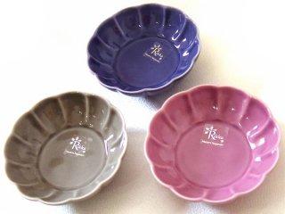 【和食器】 フラワー 花の小皿 3枚セット プラム グレー パープル