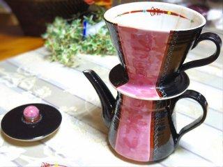 【九谷焼 虚空蔵窯】コーヒードリッパー&ポット フラベール ピンク