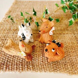 ■てづくり和陶器■ 陶器の子犬 箸置き インテリア 人形