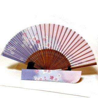 婦人布扇子 和花集(わかしゅう) 扇子セット ピンク紫  【舞扇堂】