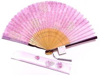 婦人布扇子 澄桜 扇子セット ピンク  【舞扇堂】