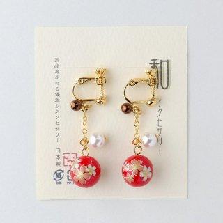 【和風アクセサリー】 和玉のイヤリング 桜柄 ロング