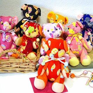 【和柄ぬいぐるみ】【クマのお人形】和風ちりめんテディベア