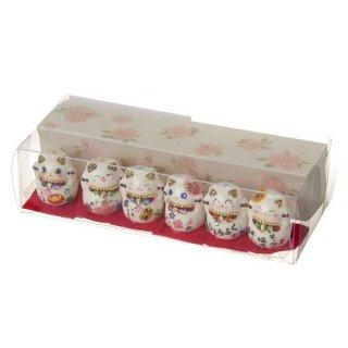 【キラキラ和風置物】 招き猫 豆猫マスコット 6匹セット