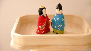 【ご結婚祝いに】ここかしこ 縁起物 えんむすび 磁器人形 紅白化粧箱入り