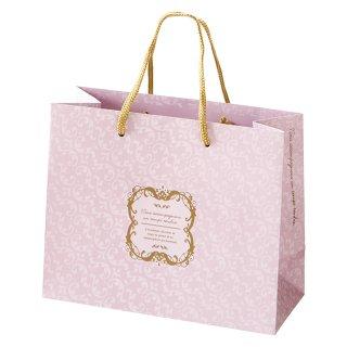 【高級手さげ紙袋】 アールヌーボー デザイン ペーパーバッグ ピンク 紙袋(22×18×10)